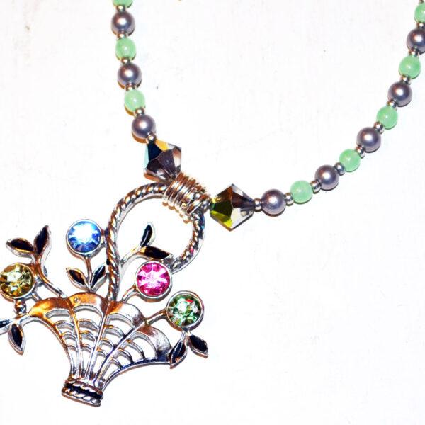 Vintage flower basket necklace