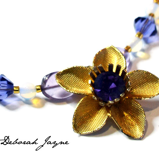 purple flower necklace