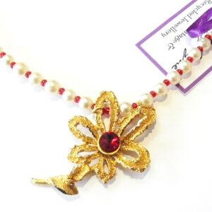 red flower upcycled vintage necklace