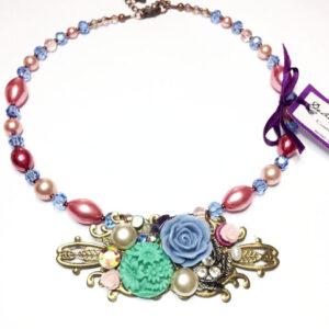 floral assemblage necklace, vintage wedding, flowers