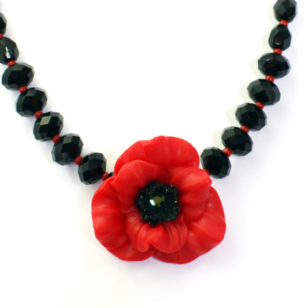 artisan poppy necklace