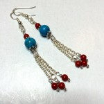 handcrafted handmade earrings semi-precious turquoise coral
