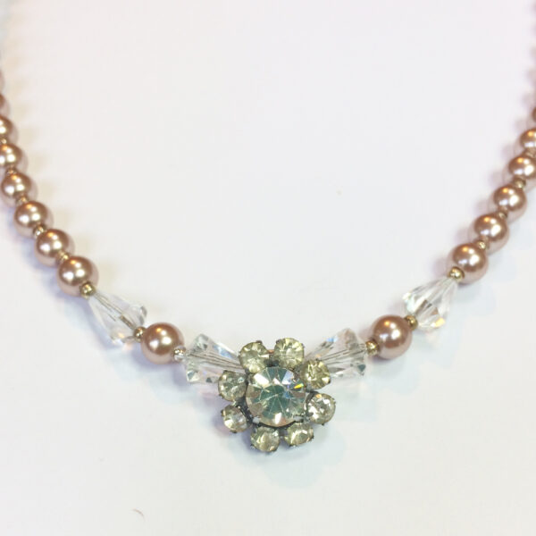 vintage wedding necklace silver faux pearls