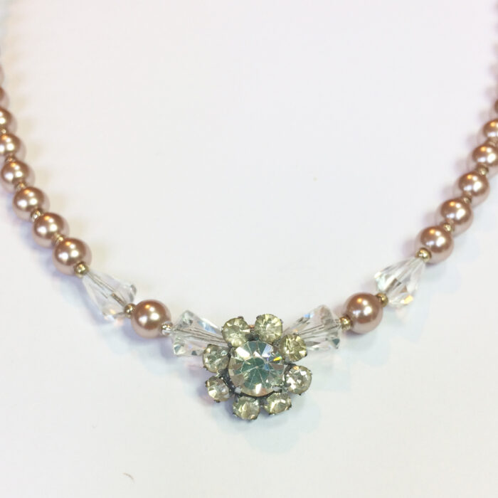vintage wedding necklace silver faux pearls