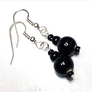 black vintage bead earrings