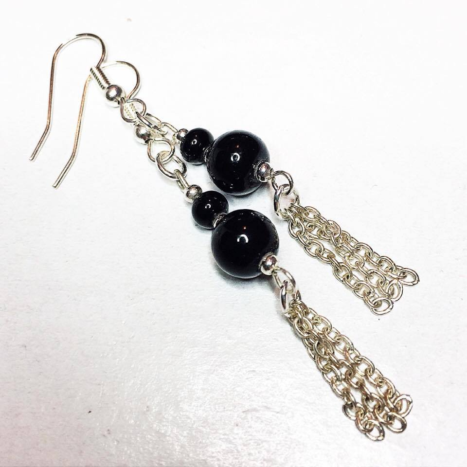 unique tassel drop earrings, vintage, black, silver