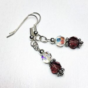 boho chic vintage, crystal, drop earrings