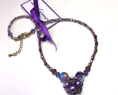 purple vintage necklace, repurposed vintage