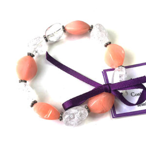 sustainable fashion jewellery, peach bracelet