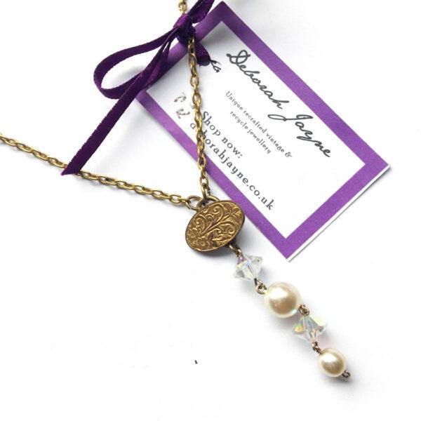 repurposed vintage cuff link necklace