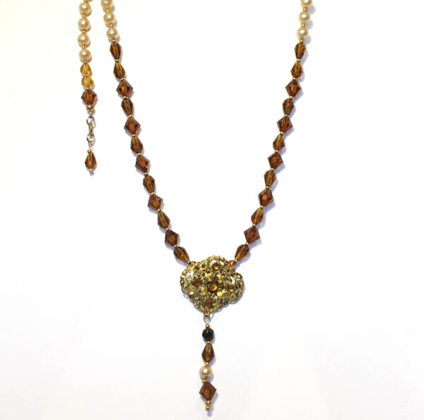 amber pearl necklace, reworked vintage