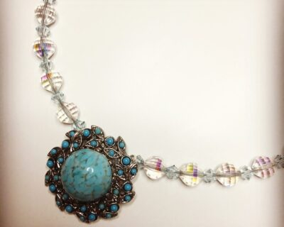 Vintage Turquoise Pendant Necklace, Iridescent Crystals, Handmade Ethical Jewellery