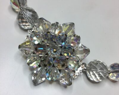 Vintage Crystal Necklace, with Central Repurposed Vintage Crystal Starburst
