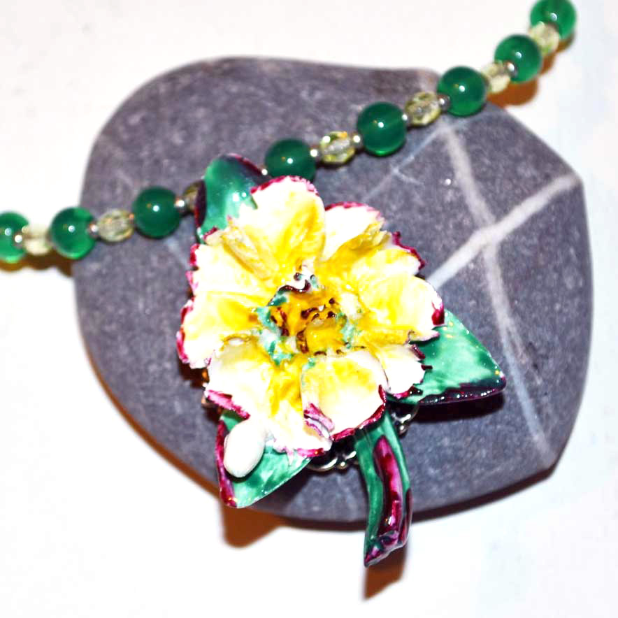 pottery flower necklace