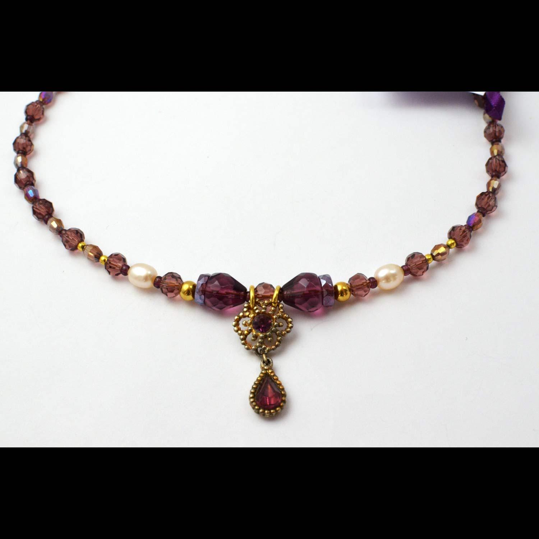 purple vintage reworked upcycled pendant necklace unique
