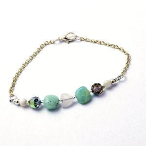 boho chic, unique jewellery, bead bracelet, silver