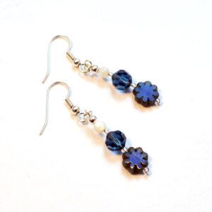 blue flower handmade earrings