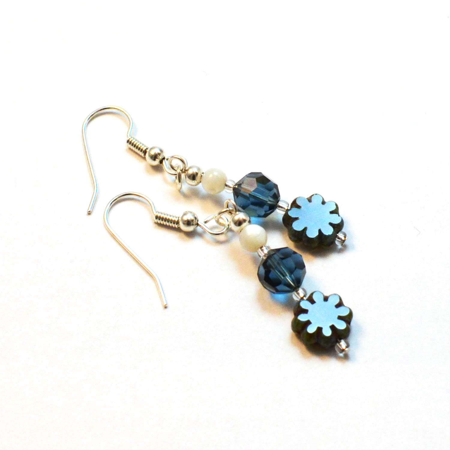blue flower handmade earrings