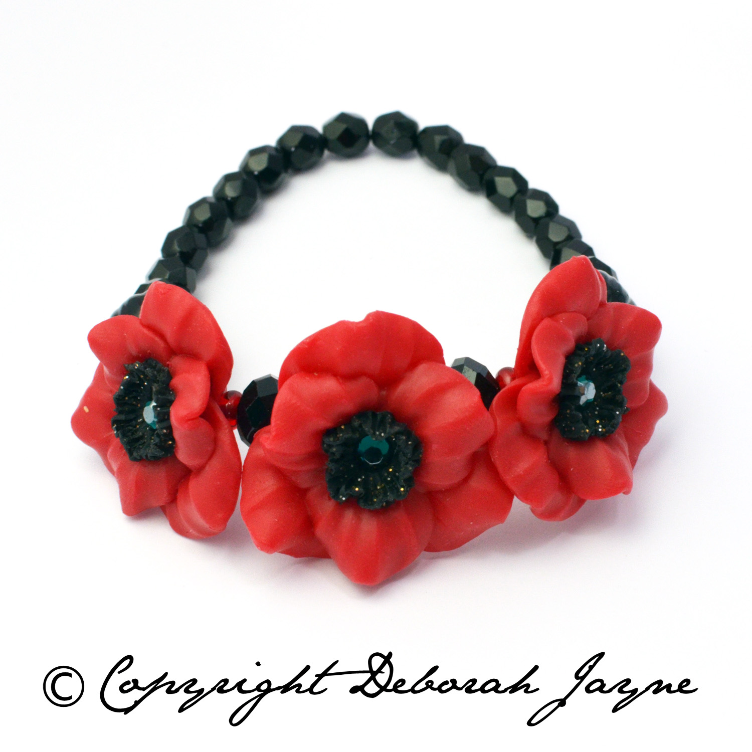 Remembrance Poppy bracelet handcrafted British Legion