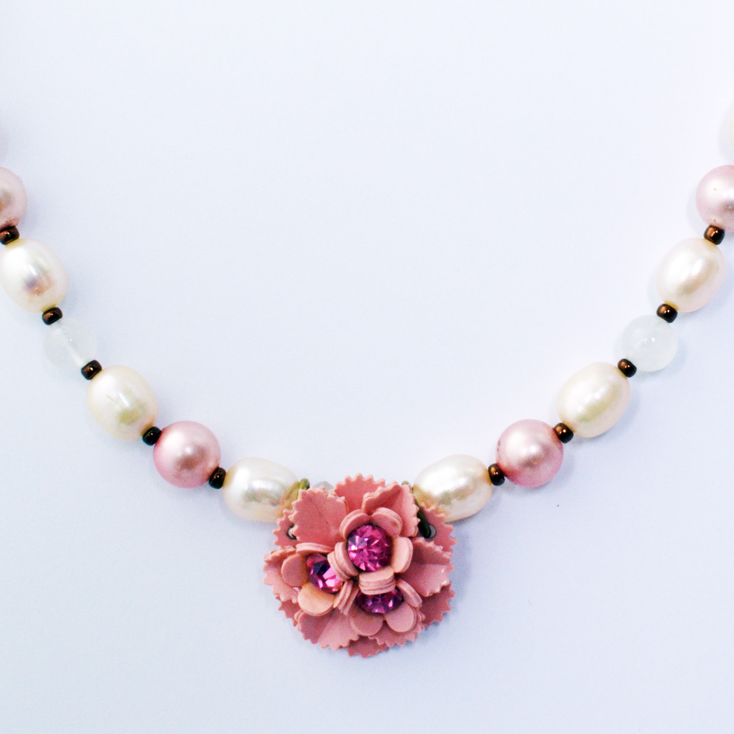 Something old something new pink flower necklace