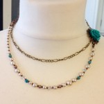 unique bespoke handcrafted turquoise flower pearl necklace ethical jewellery reworked upcycled recycled ethical