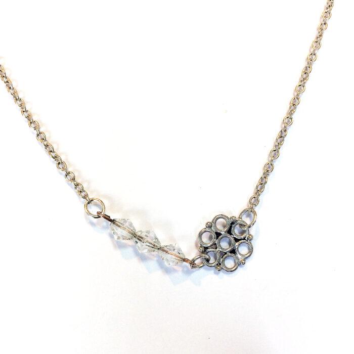 silver circle bridal necklace