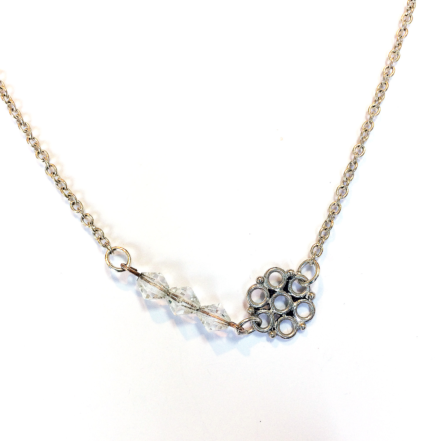 silver circle bridal necklace