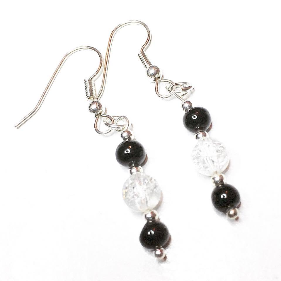 recycled vintage bead earrings, black, rock crystal