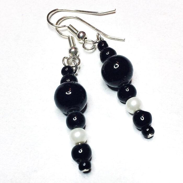 black and white bead earrings
