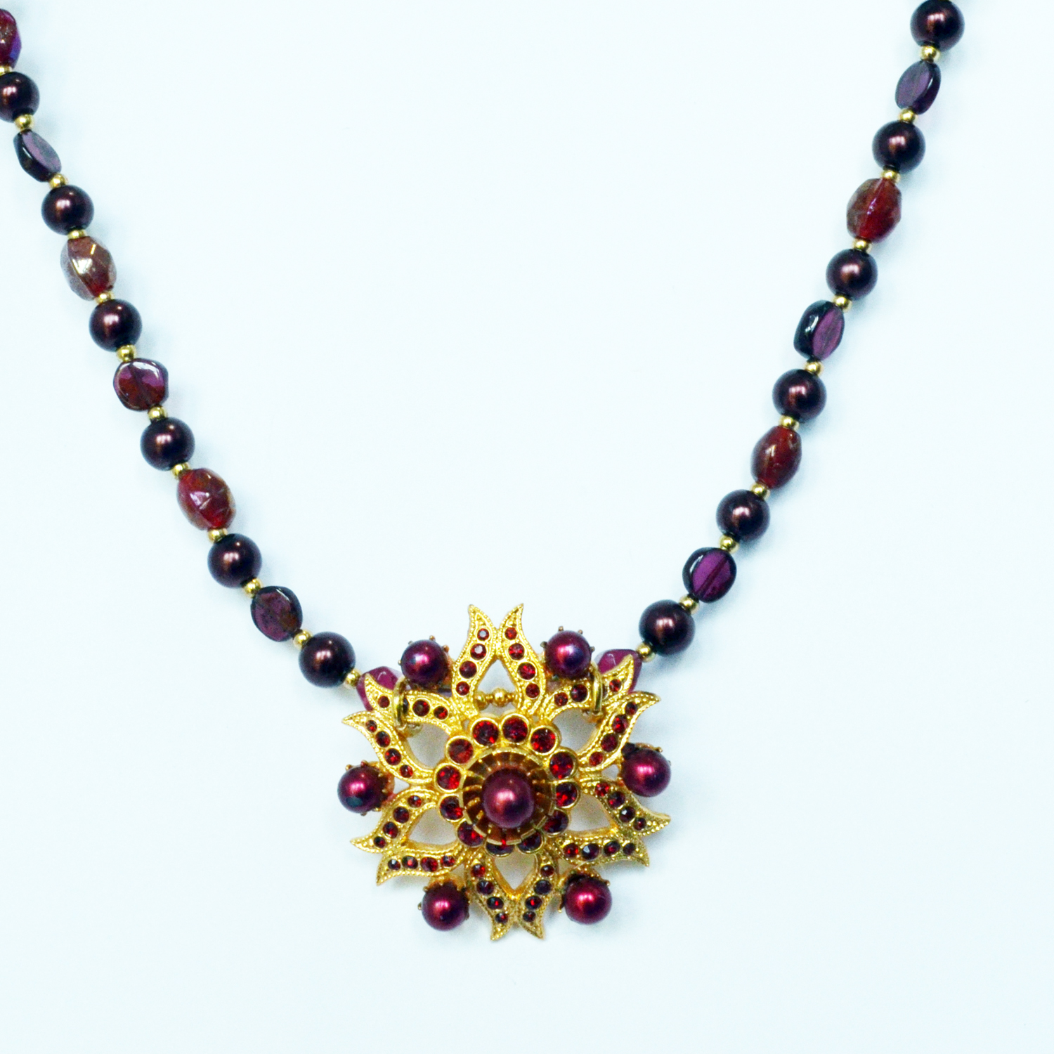 vintage star necklace garnet gold