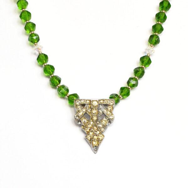 art deco necklace, art deco green necklace, reworked vintage deco necklace
