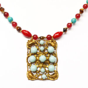 repurposed art nouveau necklace, turquoise and red necklace