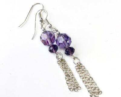 purple handmade earrings