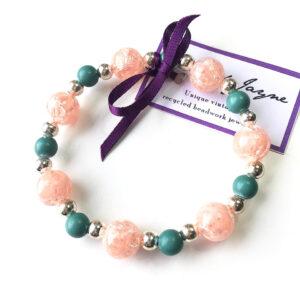vintage bead bracelet, peach, green