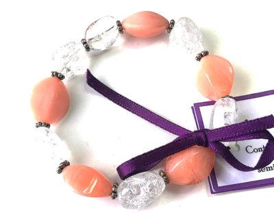 sustainable fashion jewellery, peach bracelet